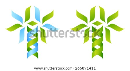 Stylised DNA tree icon concept of a DNA double helix growing into a tree or plant shape reminiscent of a caduceus - stock photo