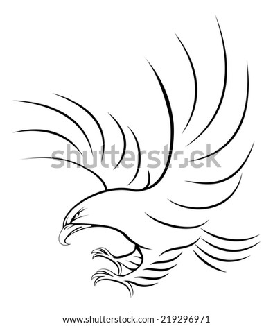 Stylised eagle illustration of an eagle swooping in for the kill