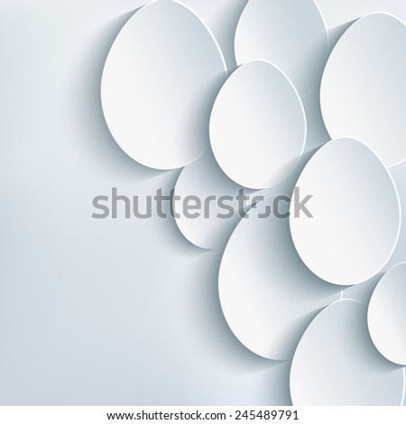 Stylish abstract gray card with 3d Easter egg. Easter creative background. Raster illustration - stock photo