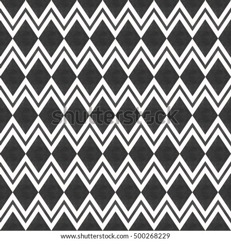 Stylish abstract seamless pattern with black graphic ornament with zigzag and rhombus