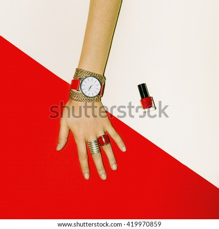 Stylish Accessories. Focus on Red. Fashion Jewelry for Ladies - stock photo