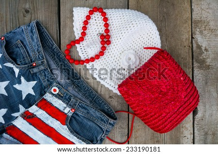 Stylish accessories glamorous Lady. Set to the beach: shorts, hat and bag.  - stock photo