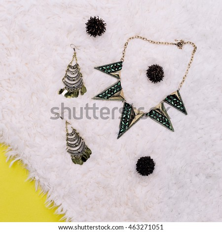 Stylish Accessories. Jewelry ornament and Geometry print fashion