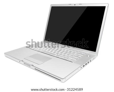 Stylish aluminum glossy laptop with black screen - stock photo