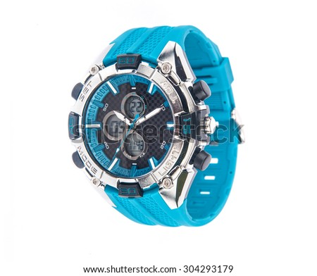 Stylish analog cum digital performance sports watch of unique blue color over white background - stock photo