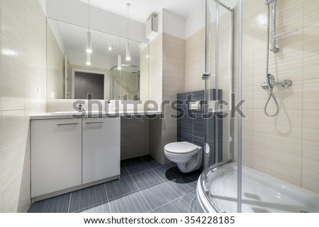 Stylish bathroom in smal apartment, scandinavian style