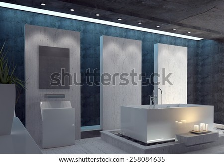Stylish bathroom with a modern white rectangular suite, a black ceiling and dark accent walls lit by a cluster of romantic glowing candles. 3d Rendering.  - stock photo