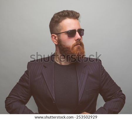 Stylish bearded man - stock photo