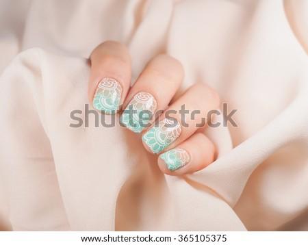 Stylish beautiful manicure, gradient - stock photo