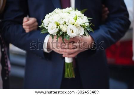 stylish, beautifully decorated wedding bouquet of lovely flowers, Lviv - stock photo