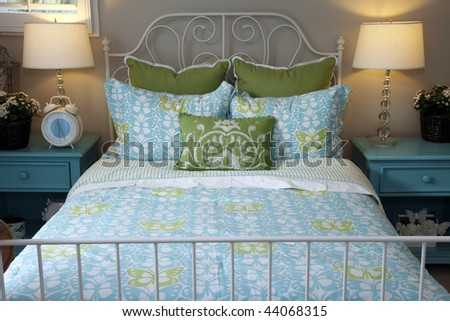 Stylish bedroom furniture and contemporary decor. - stock photo