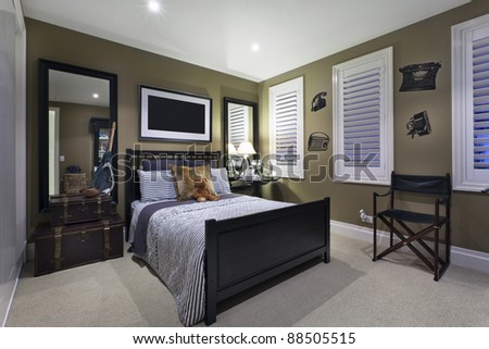 Stylish bedroom with elegant fittings