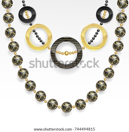 stylish bijouterie black and gold on a white background