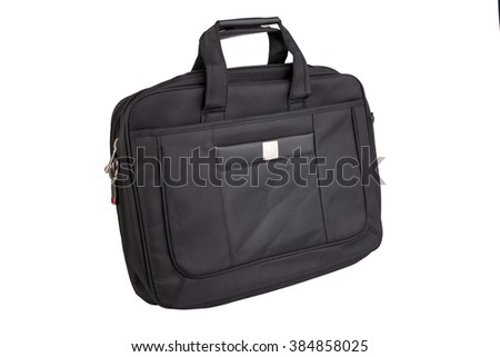 Stylish black business bag for laptop and documents isolated on white