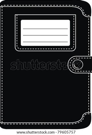 Stylish black leather organizer, wallet (original design) -  isolated illustration on white background - stock photo