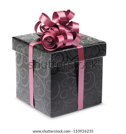 Stylish black present box with purple ribbon and bow - stock photo