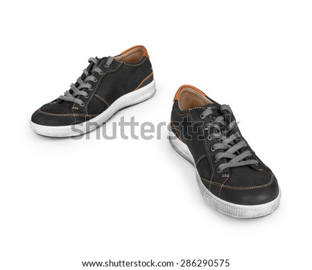 stylish black sneakers isolated on white background
