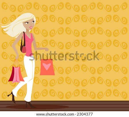 Stylish blonde with shopping bags in hand - stock photo