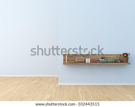 Stylish bookshelf kids room - stock photo