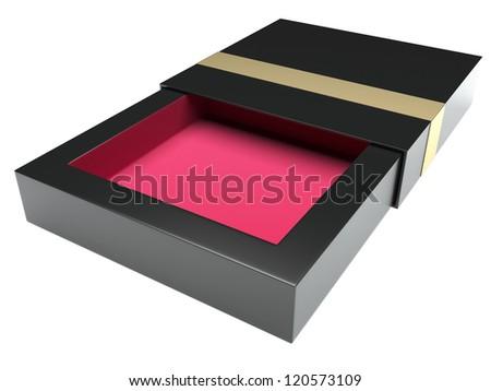 Stylish box opened. Isolated on white background - stock photo