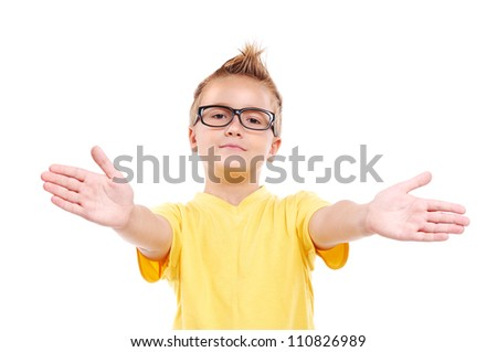 Stylish boy making a presenting gesture with hands - stock photo