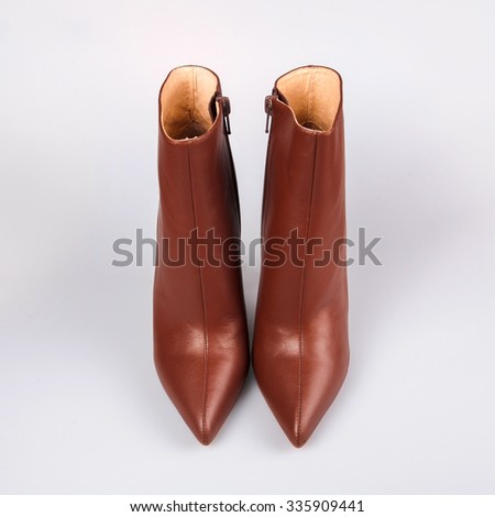 Stylish brown ladies shoes - stock photo