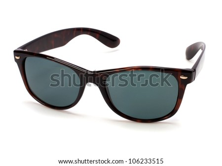 Stylish brown sunglasses isolated on white background cutout - stock photo