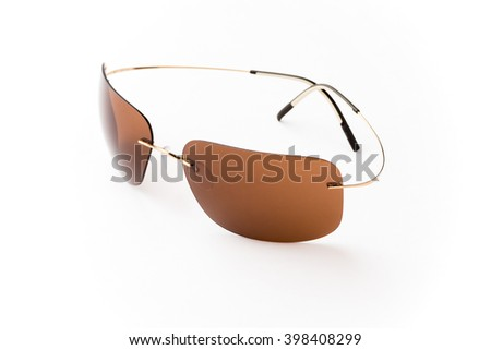 Stylish brown sunglasses isolated on white background cutout