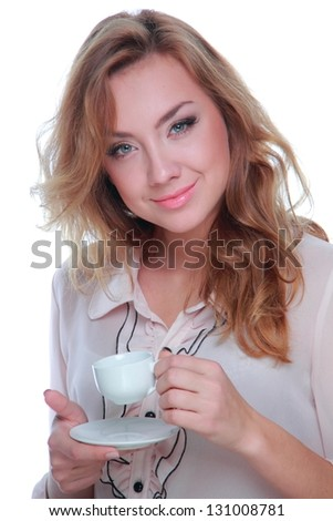 Stylish business woman drinking morning coffee on white background