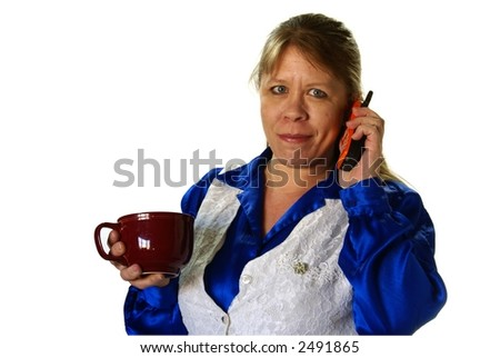 Stylish business woman on cell phone with cup of coffee in hand. On white background with copy space. - stock photo
