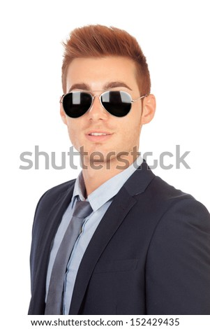 Stylish businessman with sunglasses isolated on a white background - stock photo