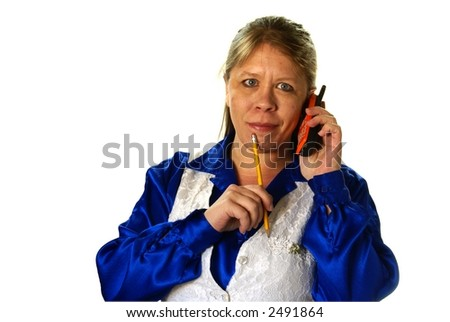 Stylish busy business woman on cell phone with pencil in hand. On white background with copy space. - stock photo
