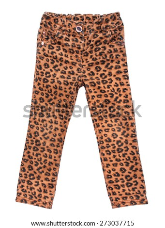 stylish children's jeans with leopard print on an isolated white background - stock photo