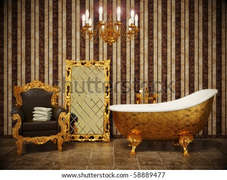 stylish classic bathroom with striped wallpaper and gold frame