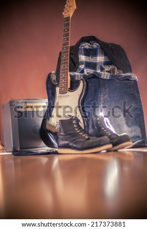 Stylish clothes for rocker - stock photo
