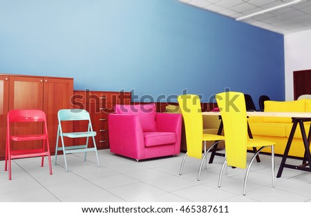 Stylish colorful furniture in interior