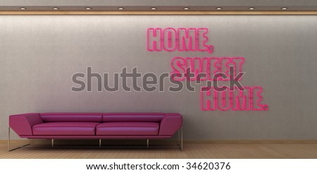 Stylish concept for home decor shop window with red neon. Ample copy space.
