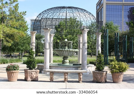 Stylish cupola and fountain in Houston, Texas