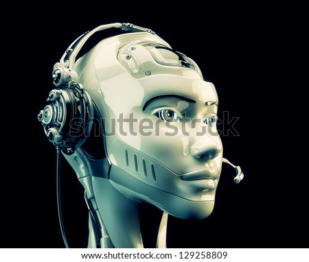 Stylish cyber support. Beautiful girl in headset. 3d render / Futuristic worker of call-center - stock photo