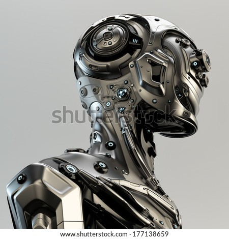 Stylish cyborg man / Steel serious futuristic robot in profile. 3d render - stock photo