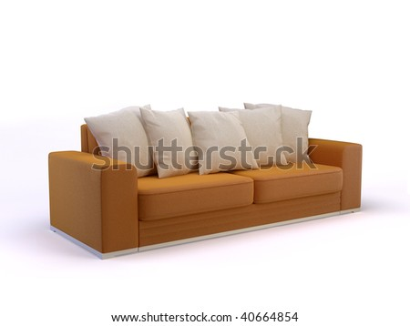 stylish 3d divan on the white background