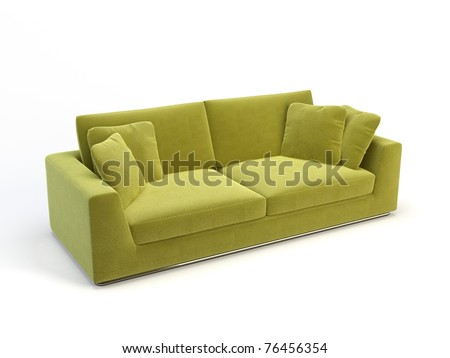 stylish 3d sofa isolated on the white background
