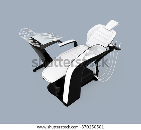 Stylish dentist chair isolated on light blue background. Clipping path available - stock photo