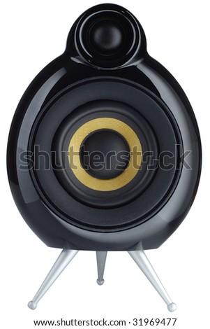 Stylish design speaker isolated on white background - stock photo