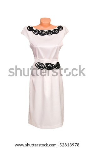 Stylish  dress with embroidery  isolated on a white background. - stock photo
