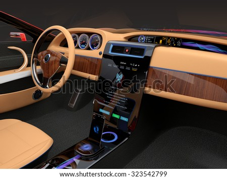 Stylish electric car interior with luxury wood pattern decoration. User can update software just touch few button in console screen. Original design. - stock photo