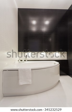 Stylish elegant black and white empty bathroom
