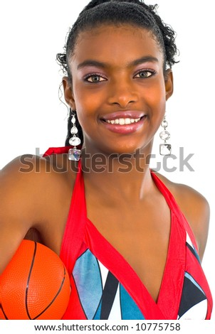 stylish elegantyoung lady with a small red ball