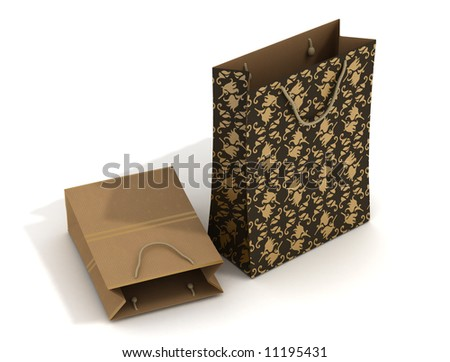 Stylish empty shopping bags with string handles - stock photo