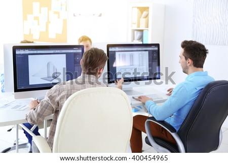 Stylish engineers office - stock photo